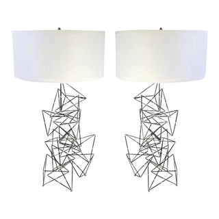 Custom Made Brutalist Lamps - a Pair For Sale