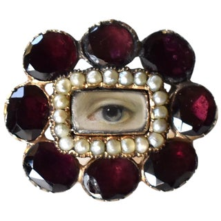19th Century Lover's Eye Georgian Garnet and Seed Pearl Brooch For Sale
