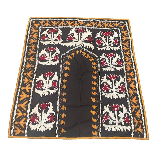 "Traditional Tablecloth / Antique Suzani Tapestry - 3'9"" x 3'5"" For Sale"