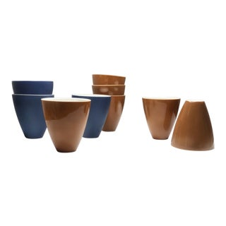 Lietzke Studio Porcelain Navy and Sienna Cups - Set of 9