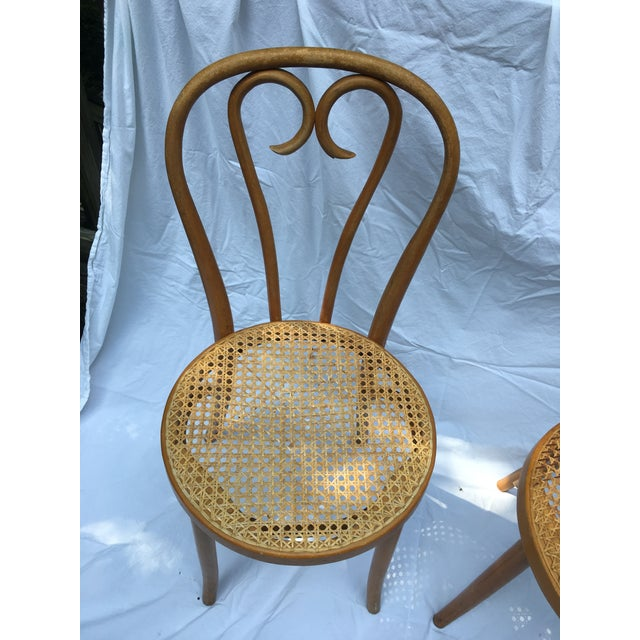French Country 1900s Boho Chic Thonet Sweetheart Style Bistro Chairs - a Pair For Sale - Image 3 of 11