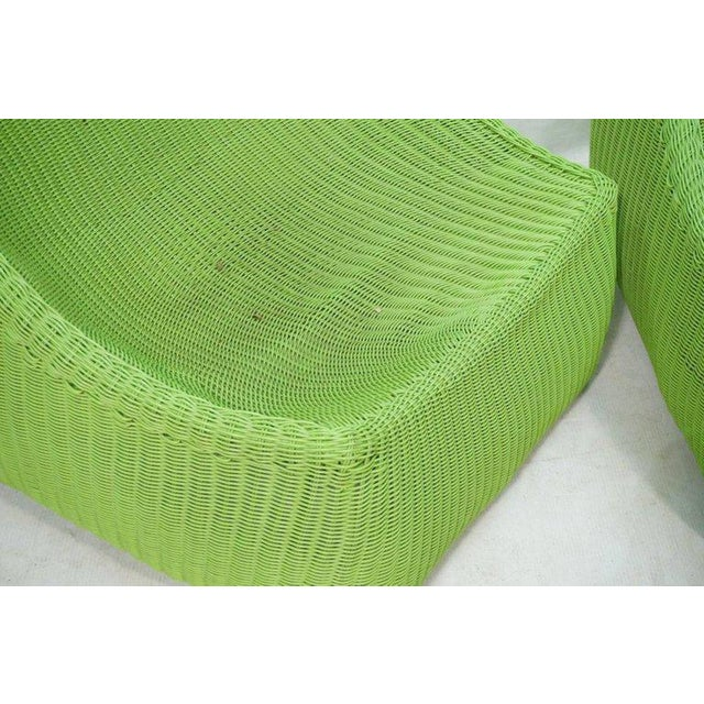 Modern Woven Fiberglass Lime Green Lounge Chairs - A Pair For Sale - Image 3 of 6