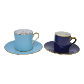 English Espresso Demitasse Cups & Saucers - Set of 2 (4 Pieces) For Sale
