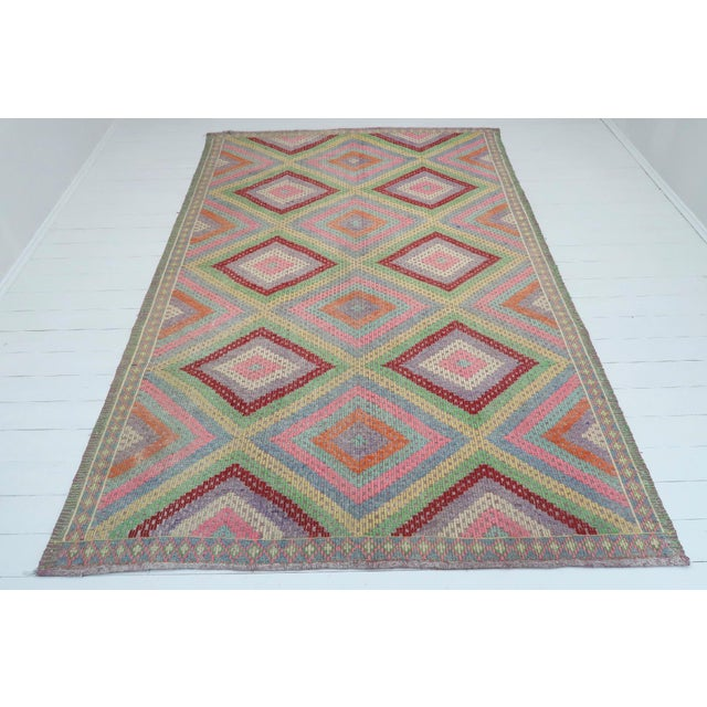 Textile Anatolian Kilim Turkish Embroidery Rug For Sale - Image 7 of 13