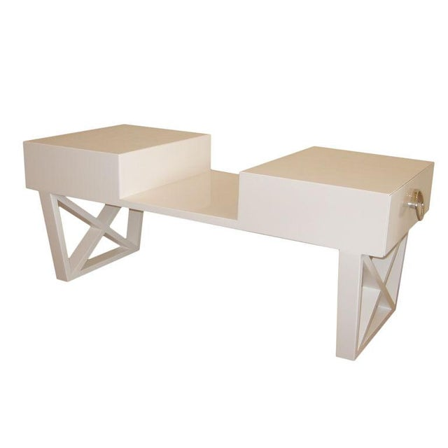 White Lacquered Over Wood Mid Century X Frame Cocktail Table For Sale In Miami - Image 6 of 6