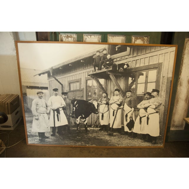 An amazing, and huge, vintage butcher photo in simple wooden frame. Just imagine it hanging in your industrial-chic...