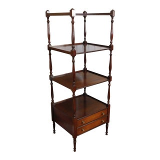English Georgian Style Mahogany Tiered Etagere Open Shelf c1970s