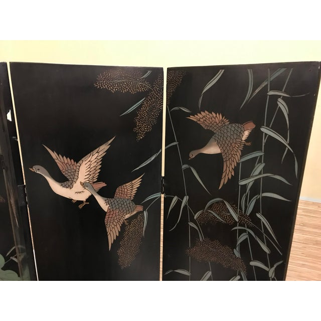 Vintage Chinese Lacquer Coromandel 4-Panel Screen For Sale - Image 10 of 11