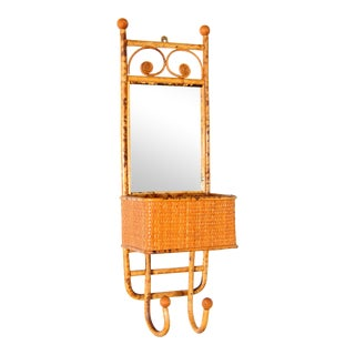Vintage Hollywood Regency Torched Bamboo & Rattan Mirror Hat Rack For Sale