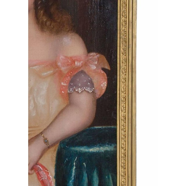 19th Century Oil on Canvas of Girl and Dog - Image 3 of 5