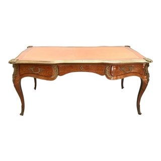 1960s Louis XV Style Leather Top Inlay and Brass Writing Desk For Sale