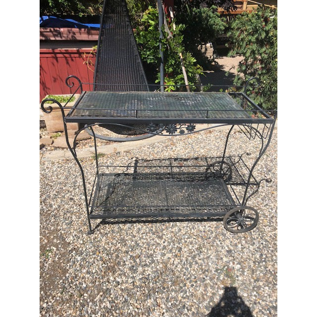 Iron Vintage Russel Woodard Wrought Iron Drink/Bar/Flower Pot Cart For Sale - Image 7 of 7