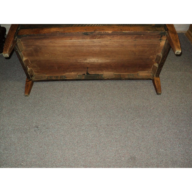 Antique Arts & Crafts Mission Oak Hall Storage Bench For Sale In Saint Louis - Image 6 of 9