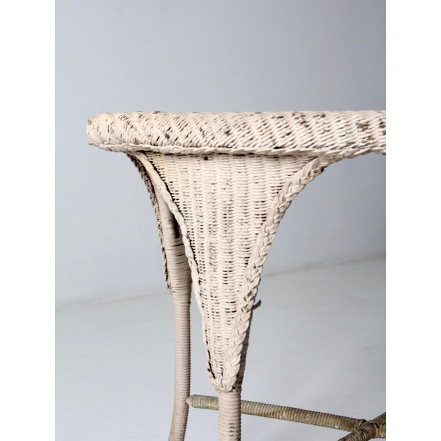 White Antique Wicker Side Table For Sale - Image 8 of 13