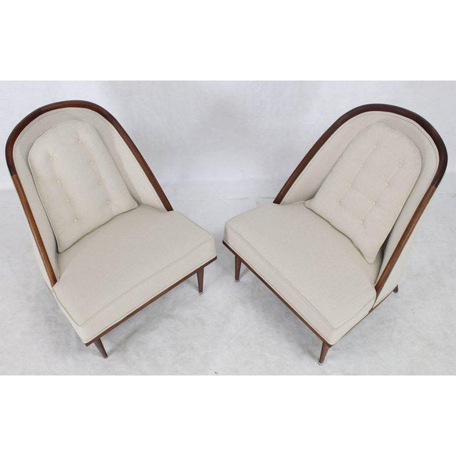 Mid 20th Century Mid-Century Modern Oiled Walnut Frame Barrel Back Lounge Chairs For Sale - Image 5 of 10