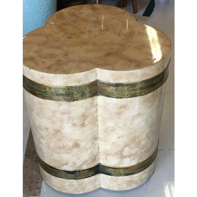 Mid-Century Modern 1970s Mid-Century Modern Mastercraft Bernard Rohe Decorated Drum Table For Sale - Image 3 of 13