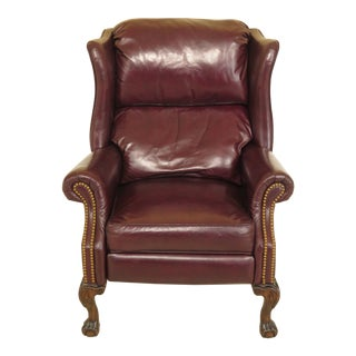 1990s Vintage Burgundy Leather Ball & Claw Foot Chippendale Recliner Wing Chair For Sale