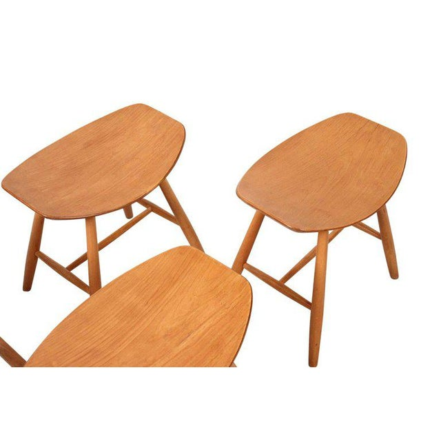 Tan Set of 4 Stools by Ejvind Johansson for FDB Mobler For Sale - Image 8 of 11