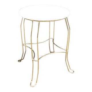 Hollywood Regency Brass Vanity Stool with White Seat For Sale