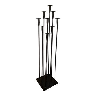 Harry Bertoia Style Tall Iron Floor Candle Holder For Sale
