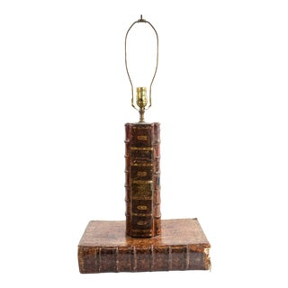 English Victorian Leather Book Table Lamp For Sale