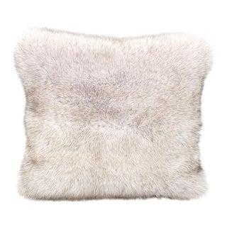 Pale Grey Fox Fur Pillow by Tasha Tarno For Sale