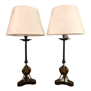 Antique Claw Foot Regency Empire Ebonized Bronze Candlestick Lamps - a Pair For Sale