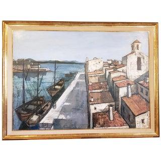 "Charles Levier (1920-2003) Large Scale ""Un Port"" Original Oil Painting C.1950s For Sale"