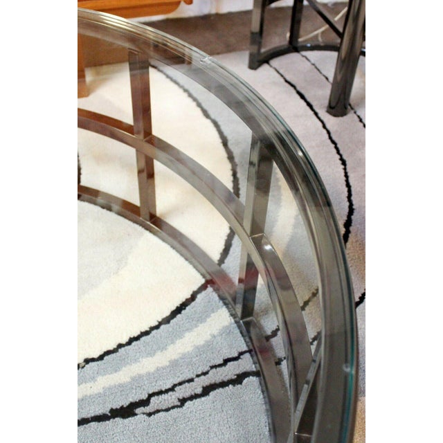 Metal Contemporary Modernist Large Round Gunmetal Glass Coffee Table Brueton 1980s For Sale - Image 7 of 10