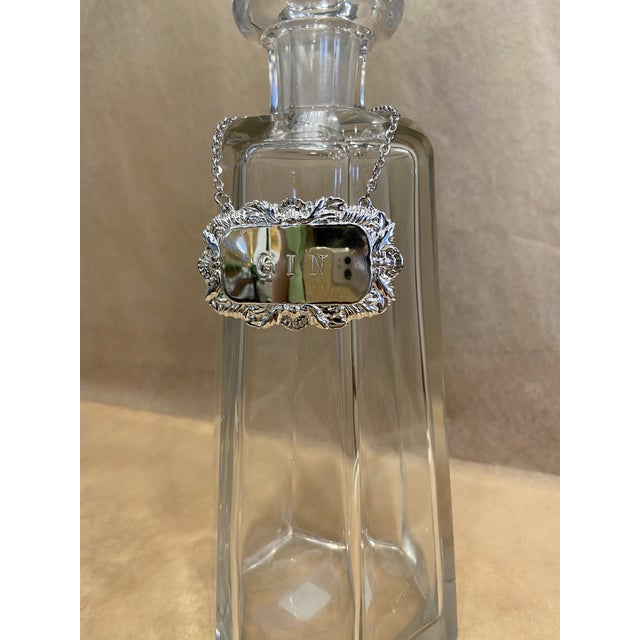 Vintage Silverplate Gin Decanter Tag For Sale - Image 4 of 6