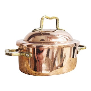 Antique Heinrichs Copper & Sterling Silver Lidded Pot For Sale