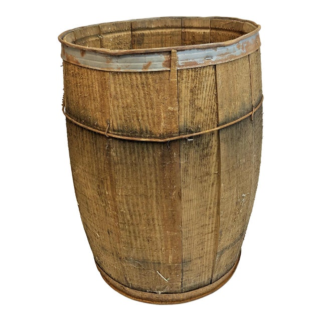 Vintage Rustic Banded Weathered Wood Nail Keg For Sale