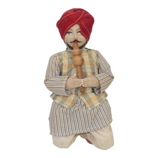 Hand Painted Vintage Indian Snake Charmer Doll For Sale