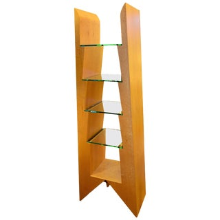 Modern Birdseye Maple and Glass Bookcase For Sale