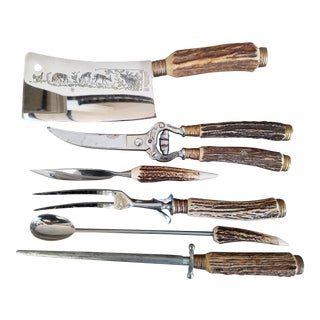 Anton Wingen German Antler Handle Cutlery Set , 7 Piece For Sale
