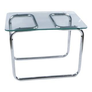 1960s Mid Century Modern Marcel Breuer Glass Chrome Side Table For Sale