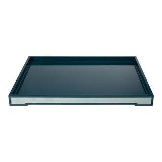 Suffolk Tray Large in Teal - Steven Gambrel for The Lacquer Company For Sale