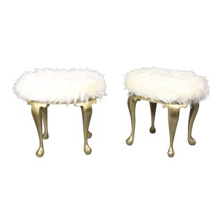 19th Century Gold Victorian Hollywood Regency Faux Mongolian Sheep Fur Foot Stools - a Pair For Sale