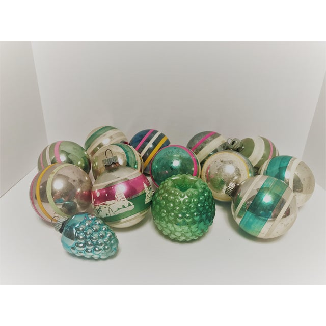 Boho Chic Vintage 1950s Shiny Brite Glass Ornaments - Set of 14 For Sale - Image 3 of 8