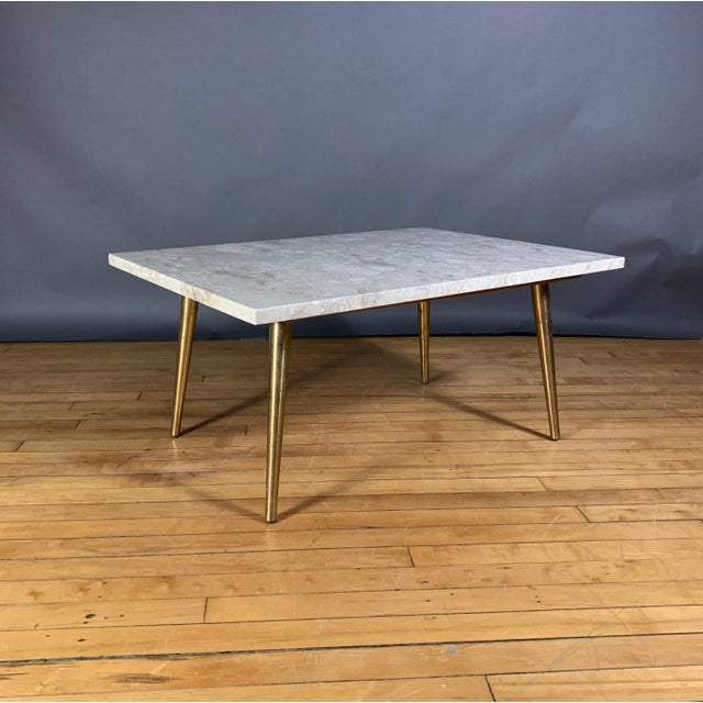 Mid-Century Travertine and Brass Coffee Table, Usa For Sale - Image 10 of 10