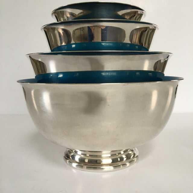 Mid-Century Reed & Barton Silver-Plated Revere Bowls With Blue Enamel Interiors - Set of 4 Sizes For Sale - Image 6 of 13