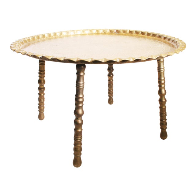 Vintage Moroccan Ornate Brass Charger Coffee Table - Image 1 of 11