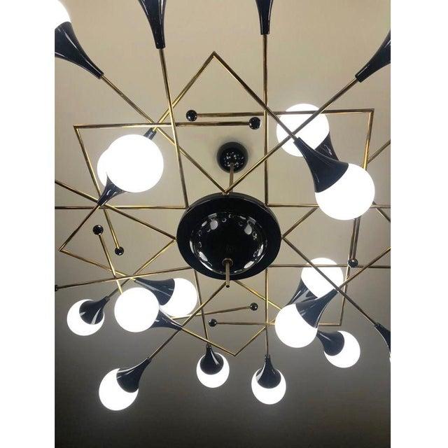 Contemporary Bespoke Italian Geometric White Glass Black Lacquered Brass 24-Light Flushmount For Sale - Image 3 of 9