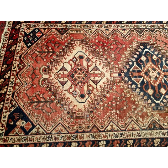 1940s Vintage Persian Shiraz Tribal Carpet - 5′2″ × 10′1″ For Sale - Image 4 of 9