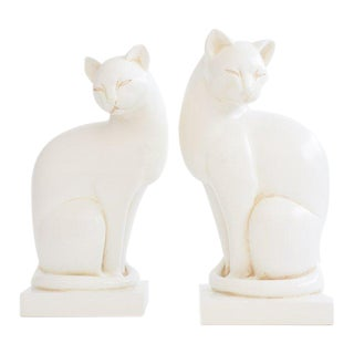 Vintage White Cat Bookends - a Pair For Sale