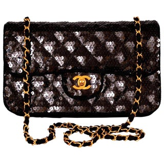 Chanel Sparkling Black Sequin Quilted Bag With Chain Strap For Sale