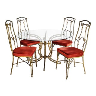 Kessler Industries Mid-Century Modern Cast Aluminum Faux Bamboo Dining Set For Sale
