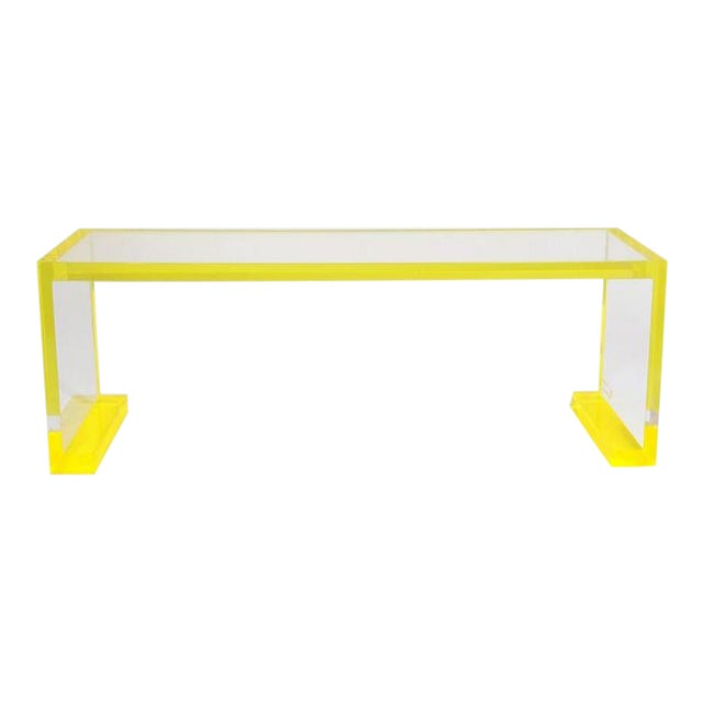 Yellow-Transparent Lucite Console Table For Sale