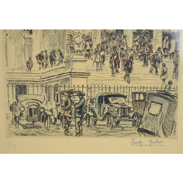 1920s Vintage Reporters Swarming Courthouse Awaiting Verdict Veder Hand-Colored Etching For Sale - Image 4 of 10