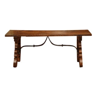 19th Century Spanish Carved Walnut Coffee Table For Sale